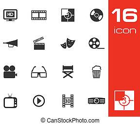 ensemble, cinéma, vecteur, arrière-plan noir, blanc, icône