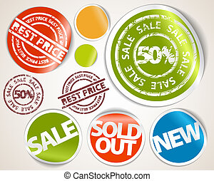 ensemble, coût, étiquettes, -, vente, autocollants, mieux