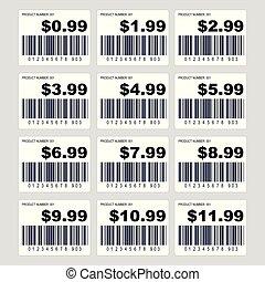 ensemble, coût, barcode, étiquette, étiquette