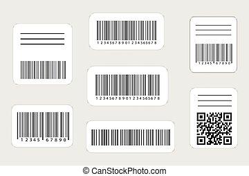 ensemble, codes, réaliste, étiquette, qr, barcode