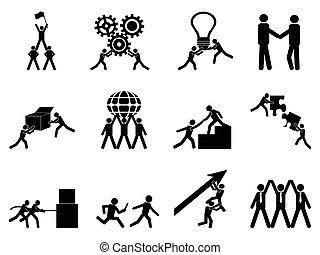 ensemble, collaboration, icônes