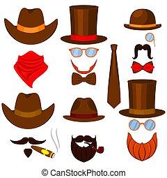 ensemble, coloré, avatars, occidental, 6, dessin animé, homme