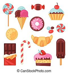 ensemble, coloré, bonbon, bonbons, divers, cakes.