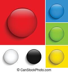 ensemble, coloré, boutons, verre, cercle, brillant