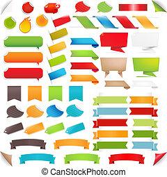 ensemble, coloré, grand, étiquettes, bulle discours