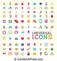ensemble, coloré, icône