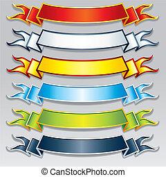 ensemble, coloré, image, banners., vecteur, rubans