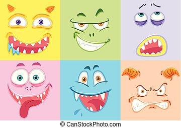 ensemble, coloré, monstre, faces