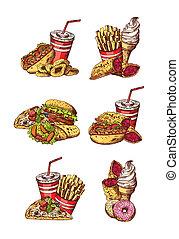 ensemble, coloré, nourriture, jeûne, main, vecteur, dessiné, éléments