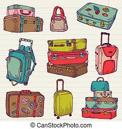 ensemble, coloré, valises, vendange, -, vecteur, conception, album