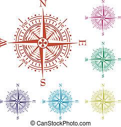 ensemble, coloré, vecteur, compas