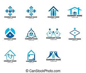 ensemble, communauté, logo, gens, conception, maison, gabarit
