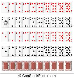 ensemble, complet, carte joue