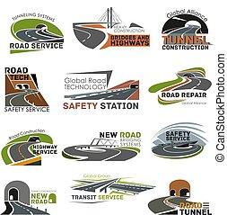 ensemble construction, autoroute, route, icône