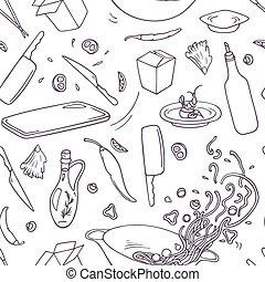 ensemble, contour, elements., restaurant, nourriture, griffonnage, main, asiatique, wok, dessiné