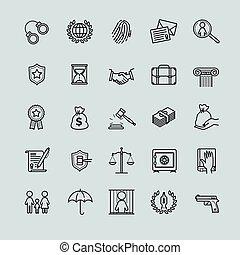 ensemble, contour, icônes, -, avocat, services, droit & loi
