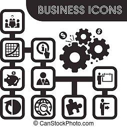 ensemble, contour, icones affaires