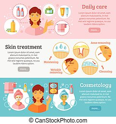 ensemble, cosmétologie, bannières, peau