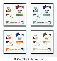 ensemble, couleur, 2, étiquette, ruban, origami