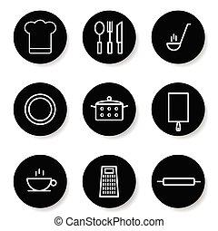 ensemble, couleur, illustration, blanc, cuisine, icône