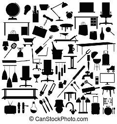 ensemble, couleur, outillage, illustration, arrière-plan noir, blanc
