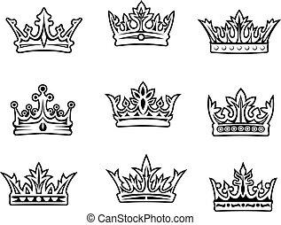 ensemble, couronnes royales