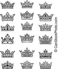 ensemble, couronnes royales, impérial, noir, blanc