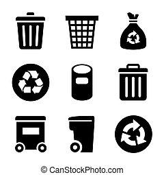 ensemble, déchets, icônes