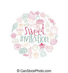 ensemble, desserts, bonbons, vecteur, gâteaux, carte, -invitation