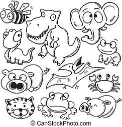 ensemble, dessin animé, animal