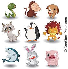 ensemble, dessin animé, animal, icône