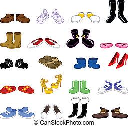 ensemble, dessin animé, chaussures