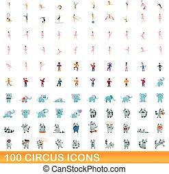 ensemble, dessin animé, cirque, style, icônes, 100