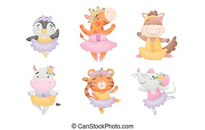 ensemble, dessin animé, danse, animaux, mignon, jupe, ballet, vecteur
