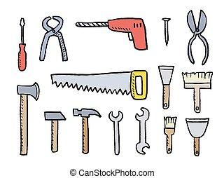 ensemble, dessin animé, outils