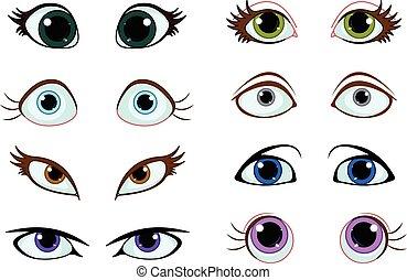 ensemble, dessin animé, yeux