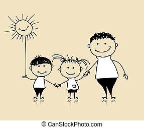 ensemble, dessin, heureux, enfants, père, famille, sourire, croquis
