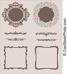 ensemble, diviseurs, calligraphic, décoration, vecteur, conception, page, éléments