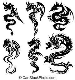 ensemble, dragons, chinois, tribal