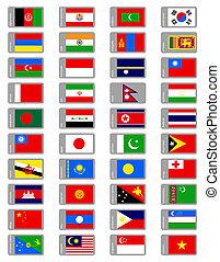 ensemble, drapeaux, asiatique