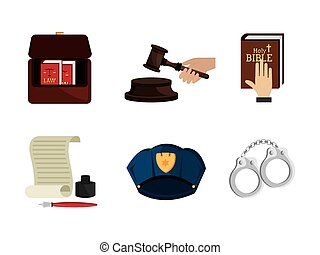 ensemble, droit & loi, justice, icônes, légal