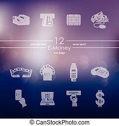 ensemble, e-argent, icônes