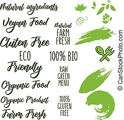 ensemble, eco, feuilles, étiquettes, produits, vert, amical, insignes