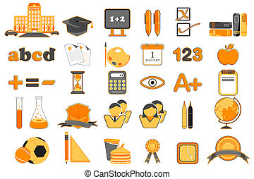 ensemble, education, icône