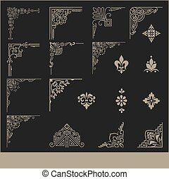 ensemble, elements., calligraphic, décoration, élégant, vecteur, conception, coin, design., ton, éléments, page