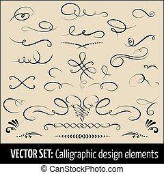 ensemble, elements., calligraphic, décoration, élégant, vecteur, conception, design., ton, éléments, page