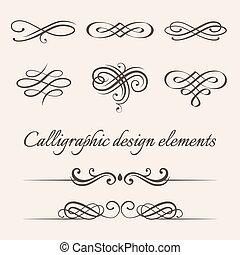 ensemble, elements., calligraphic, décoration, vecteur, conception, page