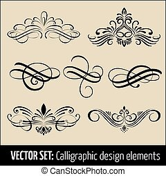 ensemble, elements., moderne, illustration, calligraphic, décoration, élégant, vecteur, conception, encre, design., page, calligraphie, ton, éléments, manuscrit