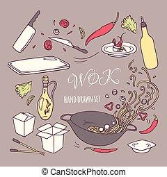 ensemble, elements., restaurant, nourriture, griffonnage, main, asiatique, wok, dessiné