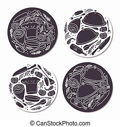 ensemble, emblème, nourriture, griffonnage, patterns., main, gabarit, dessiné, autocollants, rond